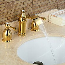 ougmoo 3Wasserfall Wasserhahn, Waschbecken Armaturen Deck montiert Badezimmer Wasserhahn Waschbecken oder Badewanne Wasserhahn 2Griffe Wasserhahn BA06 gelb