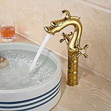 ougmoo Dragon Form Waschbecken Wasserhahn für Badezimmer Vergoldet Single Loch Doppel Griff Deck Halterung, weiß, Chrome