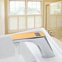ougmoo gelb Heiß/Kalt Sensor Torneira Digital Display Badezimmer Automatische Touch Sensor Waschbecken Chrom 89019–-Armatur, Einhandmischer Wasserhahn, Orange, Chrome