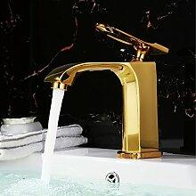 ougmoo Neue High Qualität Titanium Gold Platte Kupfer Messing Wasserfall Waschbecken Wasserhahn Spültisch Einhebelmischer, Hot kaltem Wasser, gelb, Chrome