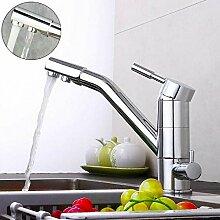 OUKANING Küche Mischbatterie Drei-Wege-Wasserhahn