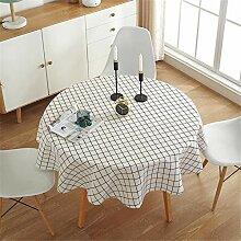 Oukeep Runde Tischdecke Aus Baumwolle Und Leinen