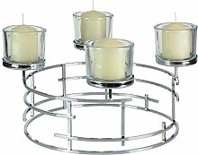 OUM-SET Formano Adventskranz Metall Silber 40cm