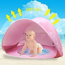 Oummit Pop-up Baby-Zelt mit Strand Pool Automatische faltbare bewegliches Zelt Sonnenschutz Anti UV geeignet Sehr für Strandurlaub (Rosa)