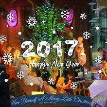 Ouneed® Wandaufkleber Wandtattoo Wandsticker , New Year 2017 Merry Christmas Wall Sticker Home Shop Windows Decals Decor Removable (Weiß)