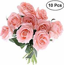 OUNONA 10pcs Künstliche Blumenstrauß Seiden Rose
