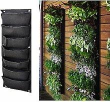 OUNONA 7 Taschen-Pflanztasche,Grün-Filz-Pflanztasche,korrosionsbeständig Umweltfreundliche grüne Pflanze Mauer,schwarz
