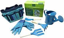 OUNONA Gartenarbeit Werkzeuge mit Garten Handschuhe und Garten Tote Für Kinder Kinder Gartenarbeit (blau)