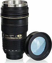 OUOH Reisebecher Geschenk für Fotografen, 1: 1 Kamera 24-70 mm F2.8G Kameraobjektiv Becher Kaffee Tasse, 14oz - Transparenter Deckel