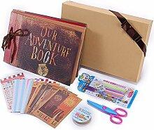 Our Adventure Book, Harte Pappe Scrapbook Album Kit DIY Fotoalbum zum Selbstgestalten Geburtstag Hochzeit Gästebuch mit Scrapbook Zubehör, mit Geschenkbox/Klebpapier/Postkarten, als Top Geschenkideen