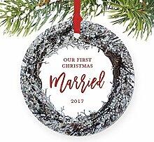 Our First Christmas Married Mann & Frau Paar Just