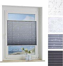 ourdeco® Plissee / 90 x 210 cm Grau, bedrucktes