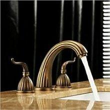 ourmeler breitgefächert Wasserfall WC Waschbecken Wasserhahn Deck montieren Zwei Griffe Armatur Spüle, schwarz
