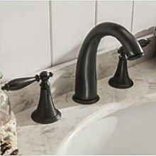ourmeler breitgefächert Wasserfall WC Waschbecken Wasserhahn Deck montieren Zwei Griffe Armatur Spüle, ro