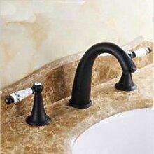 ourmeler breitgefächert Wasserfall WC Waschbecken Wasserhahn Deck montieren Zwei Griffe Armatur Spüle, viole