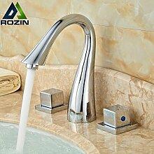 ourmeler chrom poliert Dual Griffe Vanity Spültischbatterie Deck montieren breitgefächert Badezimmer Waschbecken Wasserhahn