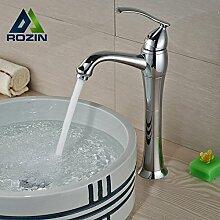 ourmeler chrom poliert Messing Deck montieren Waschbecken Wasserhahn Single Griff/Loch mit Hot und Cold Rohr, silber