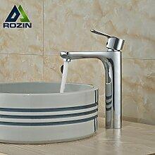 ourmeler chrom poliert Messing Deck montieren Waschbecken Wasserhahn zinntheken Hebel Badezimmer Hot Cold Mixer mit Wasser, silber