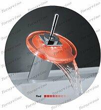 ourmeler Glas Wasserfall Chrom Waschbecken Waschbecken LED Wasserhahn Armatur 3Farbe tapz13, silber
