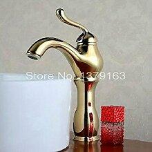 ourmeler Gold Farbe poliertes Messing einzigen Griff Bad Waschbecken Wasserhahn Mischarmaturen agf016, gelb, Brass