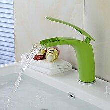 ourmeler grün Wasserfall Wasserhahn gegrillten weiß Waschbecken Wasserhahn mit heißem und kaltem Wasser Badezimmer Wasserhahn b-1530