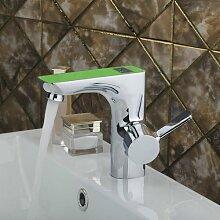 ourmeler Hello grün Waschbecken Torneira Luxus Digital Display Badezimmer Chrome Messing 97125Deck montiert-Armatur, Einhandmischer Wasserhahn
