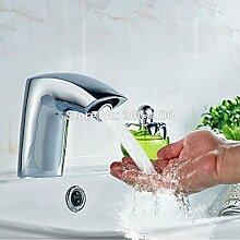 ourmeler New chrom Hotel WC-Sensor Wasserhahn Badezimmer Berührungslose Wasser Wasserhahn Wasserhahn Infrarot-Sensor Armatur AC/DC Akku zr6115, DC, Chrome