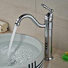 ourmeler poliert chrom Deck montieren Badezimmer Einhebelmischer Messing Wasserhahn Single Griff Waschbecken Wasserhahn, silber
