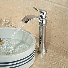 ourmeler poliert chrom Wasserfall Auslauf Waschbecken Wasserhahn Deck montieren Hebel Vanity Mischbatterie, silber