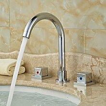 ourmeler poliert Chrome Zwei Griff 3Löcher Waschbecken Wasserhahn Deck montieren Waschtischarmatur Einhebelmischer