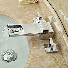 ourmeler poliert langer Auslauf chrom Wasserfall Waschbecken Wasserhahn Deck montieren Messing Badewanne Mischbatterie Dual Griff