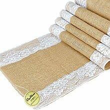 OurWarm rustikaler Tischläufer Spitze Sackleinen Naturjute Tischdekoration für Hochzeit Feste Veranstaltungen Textil White Lace Both Side, 1 Stpck