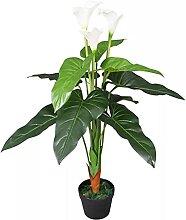 OUSEE Künstliche Calla-Lilie mit Topf 85 cm Weiß