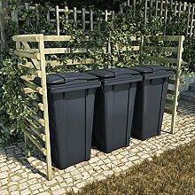 OUSEE Mülltonnenbox 3 Tonnen 210x80x150 cm