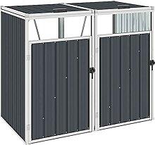 OUSEE Mülltonnenbox für 2 Mülltonnen Anthrazit