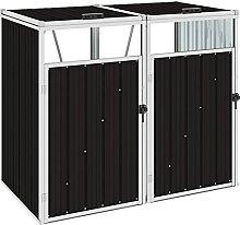 OUSEE Mülltonnenbox für 2 Mülltonnen Braun