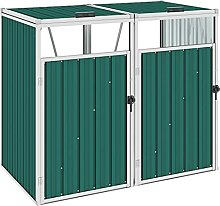 OUSEE Mülltonnenbox für 2 Mülltonnen Grün