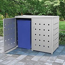 OUSEE Mülltonnenbox für 2 Tonnen 240 L Edelstahl
