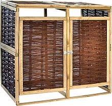 OUSEE Mülltonnenbox für 2 Tonnen Kiefernholz und