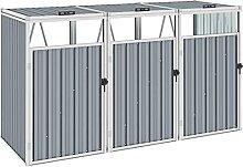 OUSEE Mülltonnenbox für 3 Mülltonnen Grau