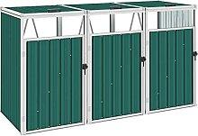 OUSEE Mülltonnenbox für 3 Mülltonnen Grün