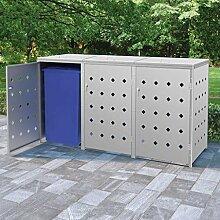 OUSEE Mülltonnenbox für 3 Tonnen 240 L Edelstahl