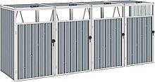 OUSEE Mülltonnenbox für 4 Mülltonnen Grau