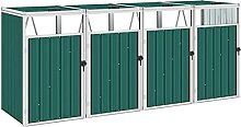 OUSEE Mülltonnenbox für 4 Mülltonnen Grün
