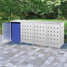 OUSEE Mülltonnenbox für 4 Tonnen 240 L Edelstahl