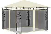 OUSEE Pavillon mit Moskitonetz 3x3x2,73 m Creme