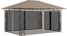 OUSEE Pavillon mit Moskitonetz 4x3x2,73 m Taupe