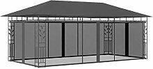 OUSEE Pavillon mit Moskitonetz 6x3x2,73 m Anthrazi