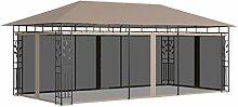 OUSEE Pavillon mit Moskitonetz 6x3x2,73 m Taupe