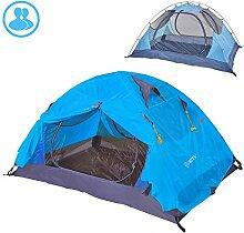 Outdoor 2 Personen Camping Zelt Double Layer Pu 4000 Wasserdichter Baldachin Sonnenschirm-Blau